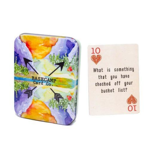 a colourful tin of playing cards for cottage tech detox